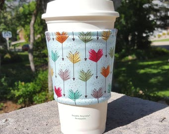 FREE SHIPPING UPGRADE with minimum -  Fabric coffee cozy / cup sleeve / coffee drink sleeve / Color feather arrows
