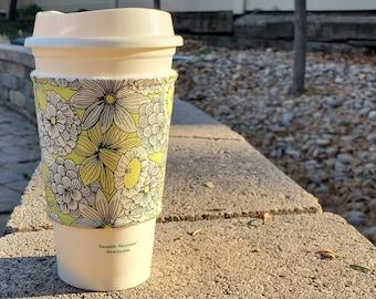 Hot or Iced Fabric coffee cozy / cup sleeve / coffee sleeve / Drawn Daffodils