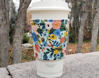 Hot or Iced Fabric coffee cozy / cup sleeve / coffee sleeve  / Rifle Paper Co Flowers Wildwood Garden Party on Mint -- Flat Shipping