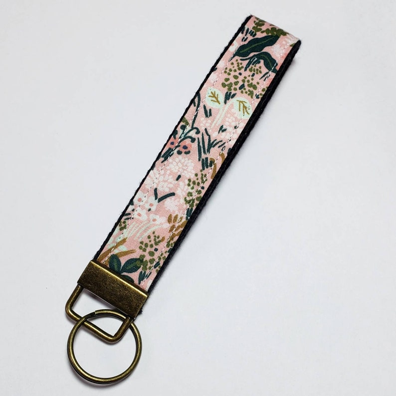 Key Lanyard  Key Fob  Fabric Key Ring  Rifle Paper Co Pink image 0