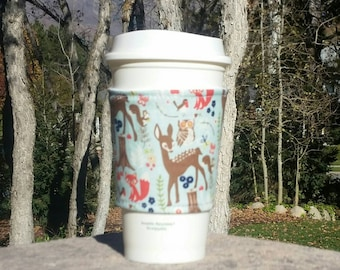 FREE SHIPPING UPGRADE with minimum -  Fabric coffee cozy / cup sleeve / coffee sleeve / drink sleeve - Woodland Animals