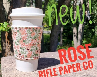 Hot or Iced Fabric coffee cozy / cup sleeve / coffee sleeve  / Rifle Paper Co Flowers Rose -- Flat Shipping