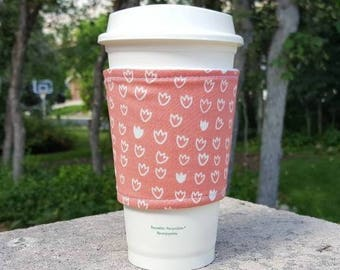 FREE SHIPPING UPGRADE with minimum -  Fabric coffee cozy / cup sleeve / coffee drink sleeve / Tulips