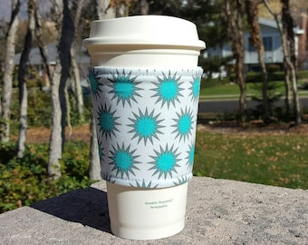 FREE SHIPPING UPGRADE with minimum -  Fabric coffee cozy / coffee cup holder / coffee sleeve -- Vaporeon Star Burst