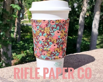 Hot or Iced Fabric coffee cozy / cup sleeve / coffee sleeve  / Rifle Paper Co Flowers Les Fleurs burgundy maroon-- Flat Shipping