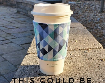 Hot or Iced Fabric coffee cozy / cup sleeve / coffee sleeve / Triangles in Blue