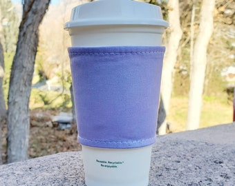 Hot or Iced Fabric coffee cozy / cup sleeve / coffee sleeve / Violet Iridescent