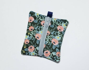 Tiny zipper pouch / earbud case / earbud pouch / coin pouch | Rifle Paper Co Floral -- Flat Shipping