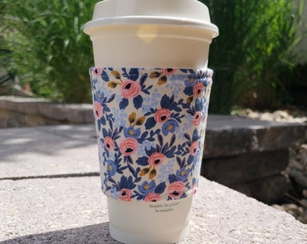 Hot or Iced Fabric coffee cozy / cup sleeve / coffee sleeve  / Rifle Paper Co Periwinkle -- Flat Shipping