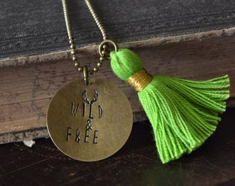 Wild & Free - Hand Stamped Mantra Necklace - Green Cotton Tassel Necklace - Boho Jewelry - Antlers - Charm Necklace