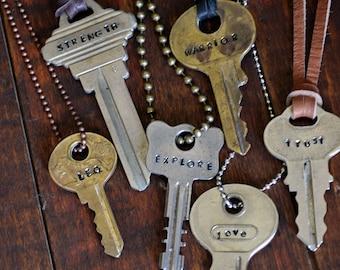 Key Necklace - Hand Stamped Key Jewelry - Custom Key - Custom Name Key - Personalized Key Necklace - Inspirational Key - Recycled Key