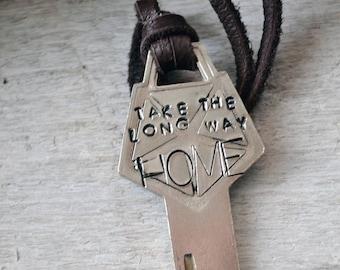 Take The Long Way Home - Vintage Chrysler Key Necklace - Vintage Car Key Necklace - Hand Stamped Key - Mens Key Necklace - Recycled Key