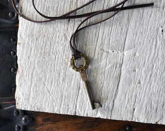 Steampunk Skeleton Key Necklace - Mens Skeleton Key Necklace - Antique German Skeleton Key -Mens Key To My Heart Necklace - Number 6 Key