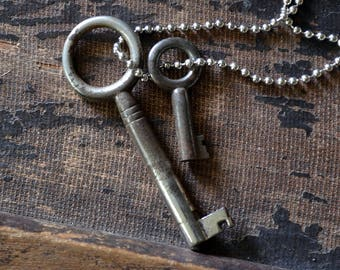 Key Collector Necklace - Double Skeleton Key Necklace - Keys To My Heart - Antique Skeleton Key Necklace - Key Necklace - Mens Key Necklace