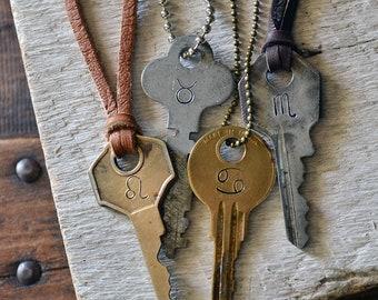 Zodiac Key Necklace - Hand Stamped Key - Zodiac Jewelry - Mens Zodiac Necklace - Womens Zodiac Necklace - Horroscope Jewelry - Zodiac Sign