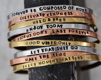 Hand Stamped Cuff Bracelet - Personalized Stacking Bracelet - Custom Mantra Bracelet - Inspirational Bracelet - Bible Verse - Custom Saying
