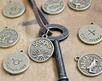 Zodiac Key Necklace - Horoscope Key Necklace - Skeleton Key Jewelry - Mens Zodiac Necklace - Leather - Womens Zodiac Necklace