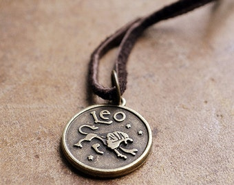 Mens Basic Zodiac Necklace - Choose Your Sign - Unisex Zodiac Necklace - leather - Horoscope - For Him