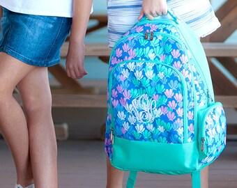 Monogram Girls Backpack and Lunch Bag Set | Monogrammed Lunchbox Bookbag For Camp Or School