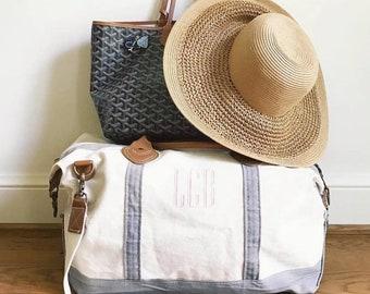 4eb8d1f48f Monogram Weekender Overnight Travel Bag Personalized Monogram Luggage  Duffle Bag Canvas Weekender Bag
