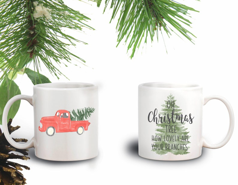Christmas Mugs.Vintage Truck Christmas Mug Tree Farm Christmas Mugs Christmas Gift Christmas Gift Ideas Coffee Mug Tea Mug Christmas Gift