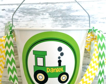 personalized green tractor five quart bucket