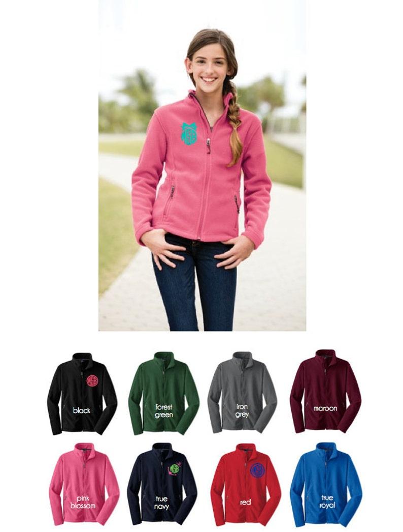 Girls fleece jacket  monogram jacket  full zip fleece jacket image 1