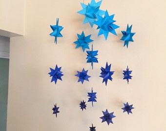 Baby Crib Mobile Hanging Origami Stars Milky Way Major Dark Blues