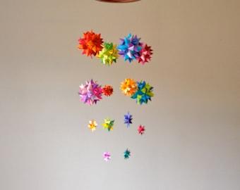 Baby Crib Mobile Hanging Origami Stars Lyra Rainbow Spheres