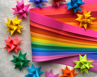 Bright Rainbow~ Moravian German Froebel Star Strips (100 strips)