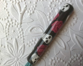 Crochet Hook, Sugar Skulls, Pokymer Clay