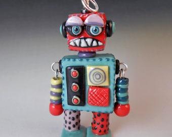 Retro Robot Pendant - Handmade Colored Porcelain
