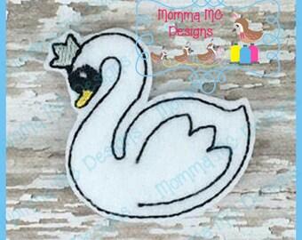 Pet Felt Swan Feltie Embroidered Felt Feltie Bird Felties Felties Hair Bow Supplies Felt Appliques Swan Felties Hair Bow Centers