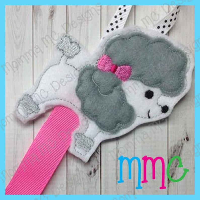 Poodle Clippy Keeper Felt Embroidery Design