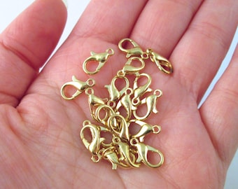 400 Pieces Lobster Claw Clasps with Open Jump Rings Set 12 mm Silver Lobster Claw Clasps Necklace Fasteners Hook and 5 mm Jump Rings for DIY Bracelet Necklace Jewelry Making
