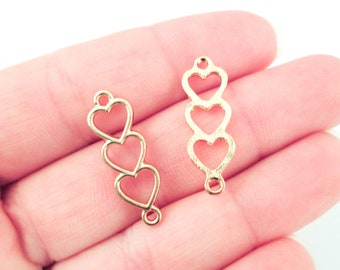 Three Flat Backed Gold Plated Open Bezel 3 Heart Charm Connectors, Great for UV Resin, F42b