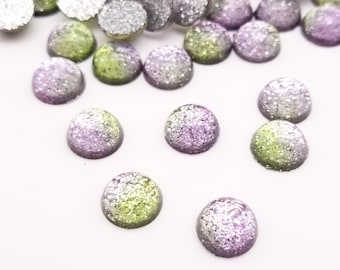 Ten 10mm Two Tone Pastel Glitter Cabochons, Green and Purple Cabochons, H200