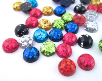 10 8mm Assorted Resin Glitter Cabochons, mixed color cabs H203