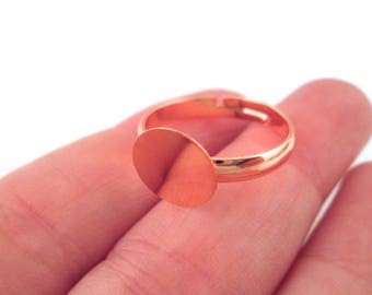 10mm rose gold plated adjustable ring base blanks, pick your amount, D141