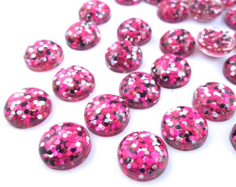 10 12mm Hot Pink, Black and Silver Resin Glitter Cabochons, mixed color cabs H309