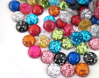 10 12mm Assorted Resin Glitter Cabochons, mixed color cabs H363