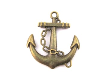 6 anchor pendants charms connectors, brass plated 31x27mm, D108