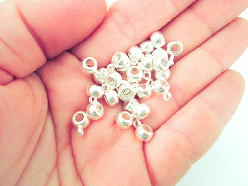 5x9mm long H500 25 Silver Plated Bead Bails