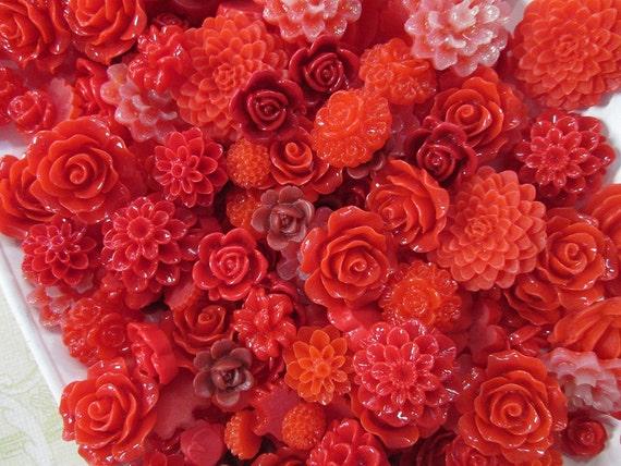 25pc Mix Cabochon Fleur Rouge Mignon Fourre Tout De Roses Les