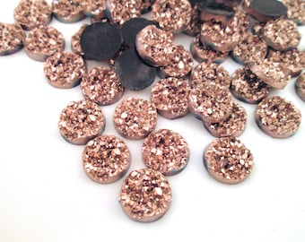 10 Rose Gold 12mm Chunky Resin Druzy Cabochons, H480
