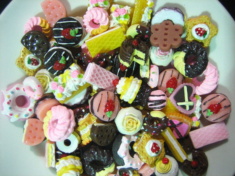 50pc assorted mix of decoden cabochons minature sweets kawaii image 0