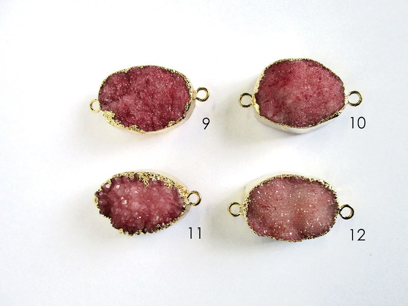 Gold Plated RDC Red Druzy Gemstone Connecter Pendant