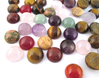 2  12mm round assorted gem stone cabochons,  mixed color cabs #965B