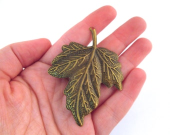 6 huge brass leaf stampings 49x65mm, B62