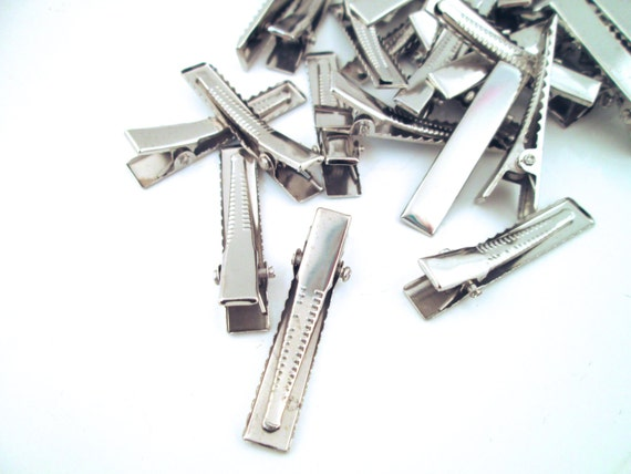 Medium 45mm Silver Alligator Clips Hair Clips Barrettes C60